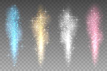 Fireworks lights transparent background. Bright spurting up sparks rays vector illustration