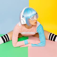 Music lover. Minimal fashion Pop Art. Vanilla color. Girl DJ. Do
