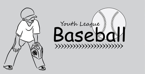 Youth league baseball text logo vector with baseball and stitching and young child or boy in ready stance with mitt and ball cap line art