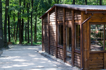 Wooden house made of boards in the park