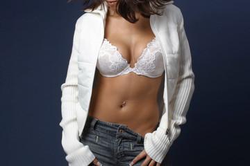 Woman in white bra