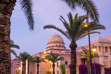 Africa,North Africa,Morocco,Marrakech,Royal Opera House,Bougainvillea glabra in purple and red.