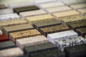 Kitchen stone countertops color samples lined up