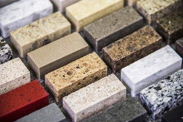 Granite kitchen countertops color samples lined up