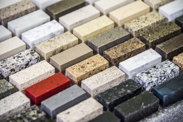 Kitchen granite countertops color samples lined up