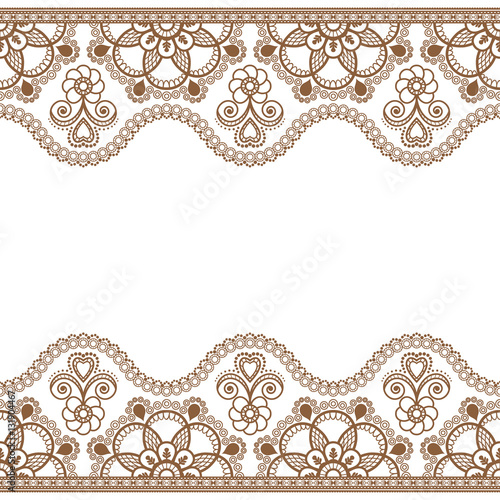 Mehndi Flower Border : Quot indian mehndi henna brown line lace border element with