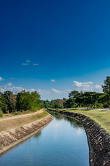 Photo sur Plexiglas Canal Irrigation canal with blue sky