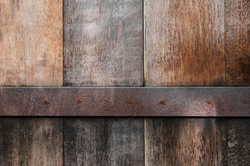 Old wood panels texture with rusty metal background