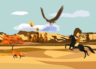 Desert wildlife, nomad on horse hunting with eagle for fox