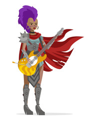 heavy metal glam girl with guitar