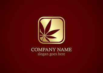 marijuana leaf icon gold logo