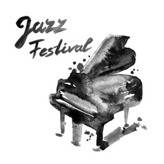 Jazz music festival, poster background template. Watercolor illustration