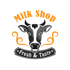 Milk Shop vector emblem with farm cow
