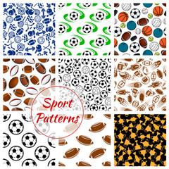 Sport balls, fitness items seamless patterns set