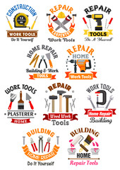 Work tools emblems set for repair, construction