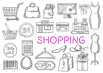 Shopping vector isolated sketch icons