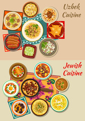 Jewish and uzbek cuisine dishes for menu design