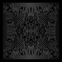 square frame ornamental tracery vintage pattern on a dark background embossed leather Ethnic Art Renaissance