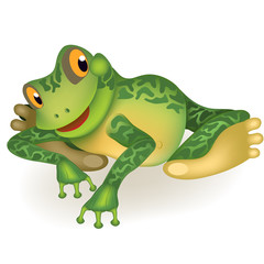 Funny frog. Toad invites you to play. Cute cartoon сharacter isolated on white background.