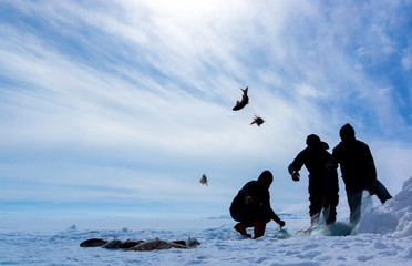 Winter fishing on frozen cildir lake in the province of Ardahan.