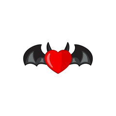 devil heart with wings icon illustration