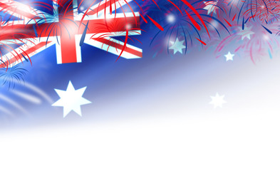 Australia day background of flag and fireworks
