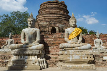 Buddha Statues around Chedi Chai Mongkhon Pagoda