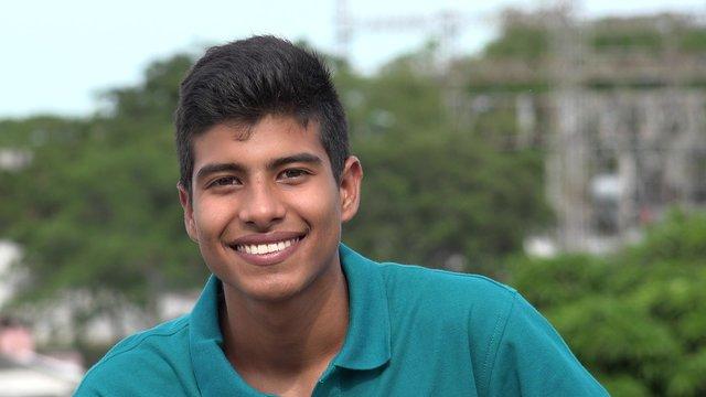 Confident Happy Smiling Teen Hispanic Boy