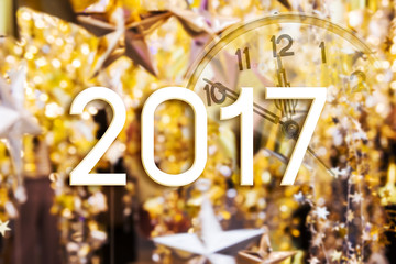 2017 year on gold star and bokeh light