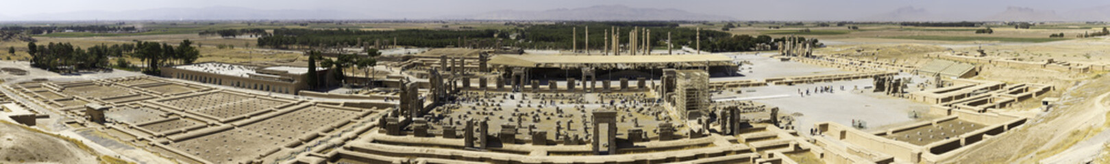 Panoramic view of Persepolis in northern Shiraz, Iran. Persepolis has led to its designation as a UNESCO World Heritage Site.