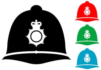 Icono plano casco policia britanico varios colores
