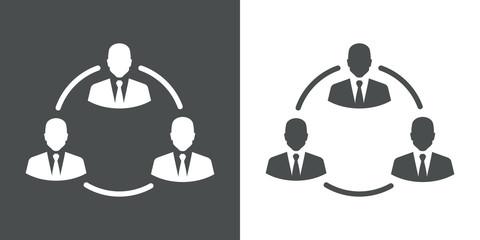 Icono plano grupo en circulo gris y blanco