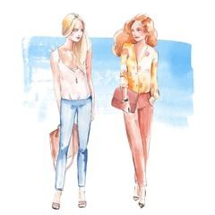 Street fashion 1. Girls. Watercolor illustration