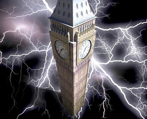 The Big Ben at night 3d rendering
