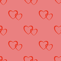 Seamless Two Hearts Pattern Isolated on Pink Background