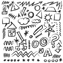 doodle design elements, shapes