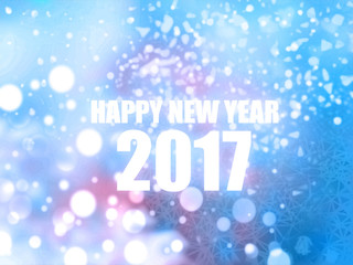 Happy New Year 2017 blue abstract bokeh background
