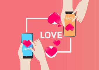 Smartphone send Heart for love in Valentine Day