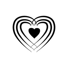 Heart around heart black