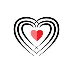 Heart black around red heart