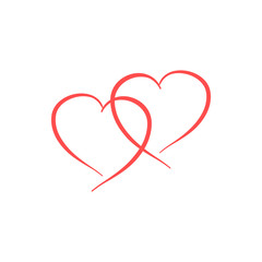 Heart two ribbon isolated