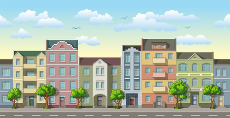 Seamless cityscape cartoon background with trees