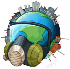 Environmental theme with earth wearing mask
