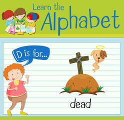 Flashcard letter D is for dead