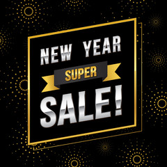 New year super sale banner template with gold theme design. Vector illustration