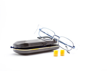 Work safety glasses with case