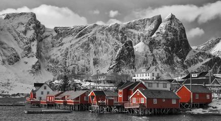 Reine Lofoten Norwegen Panorama sw col.