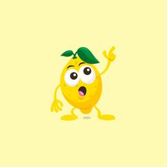 Illustration of cute lemon staring mascot isolated on light yellow background.
