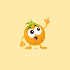 Illustration of cute orange staring mascot isolated on light orange background.