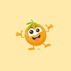 Illustration of cute orange laughing mascot isolated on light orange background.